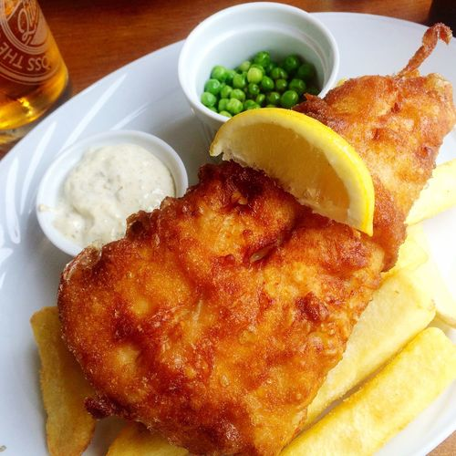 Fish And Chips Haddock Plate Chips Peas Restaurant Pub Food British