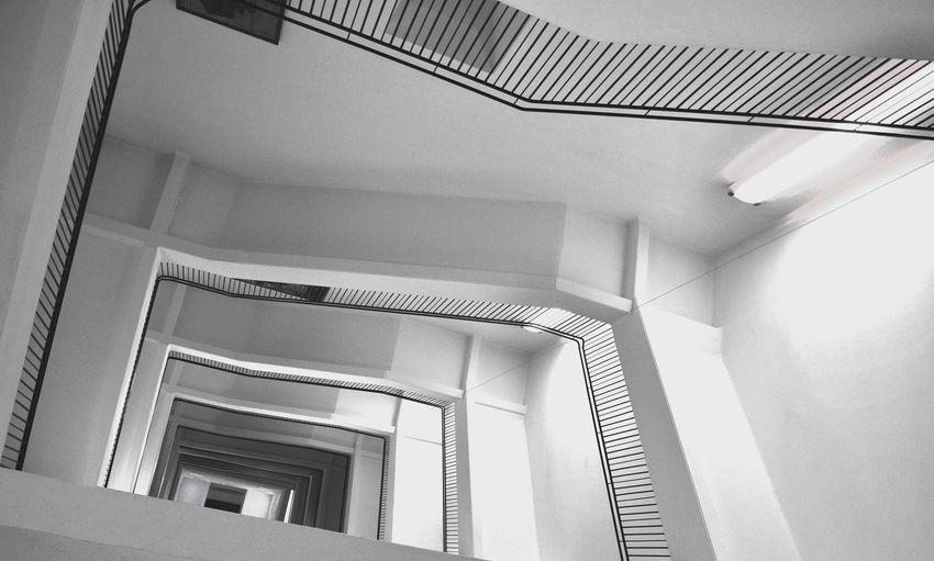 is it up or down? Architecture Built Structure Day Indoors  Long Way Lookingup Low Angle View Mirror No Escape No People Stairs White