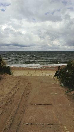 Lubmin Ostsee Baltic Sea Bike Tour Beach Windyweather Sky And Clouds Sky And Sea Windy Horizon Over Water Horizon
