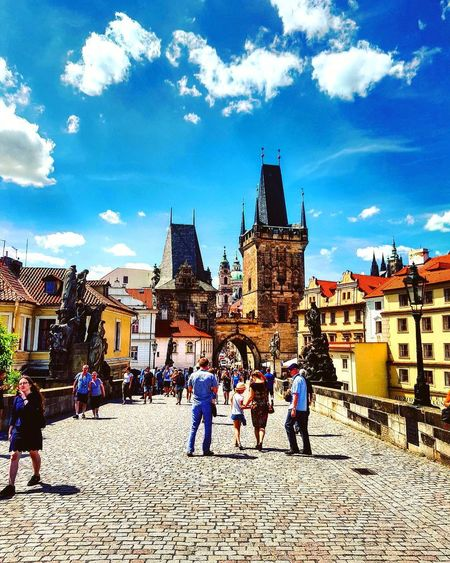 Architecture Building Exterior Built Structure History People Lifestyles Sky Outdoors Day Large Group Of People Full Length Adult Prague Prague Czech Republic Charles Bridge Paint The Town Yellow