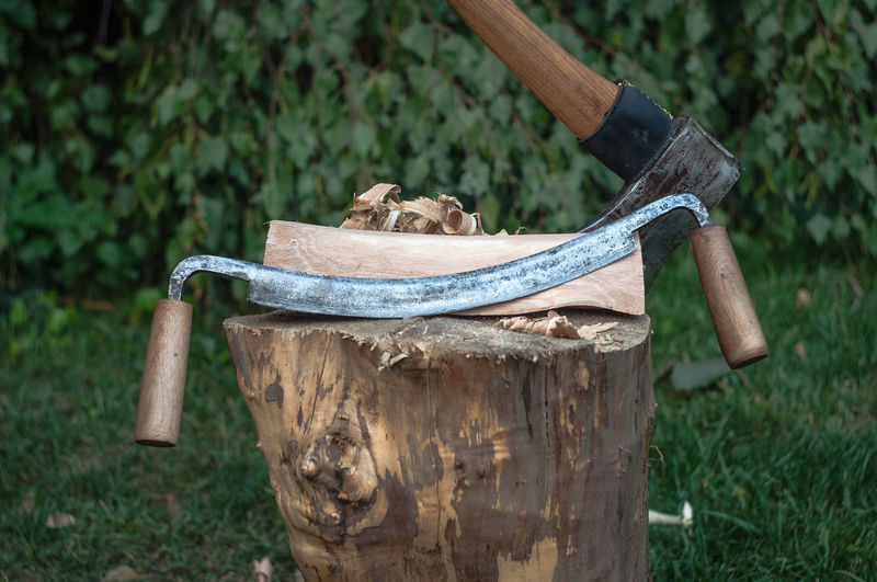 Some tools I am restoring. Ax Brown Canada Drawknife Focus On Foreground Jack Nobre Outdoors Summer Tool Toronto Tranquility Tree Stump Weathered Wooden Post