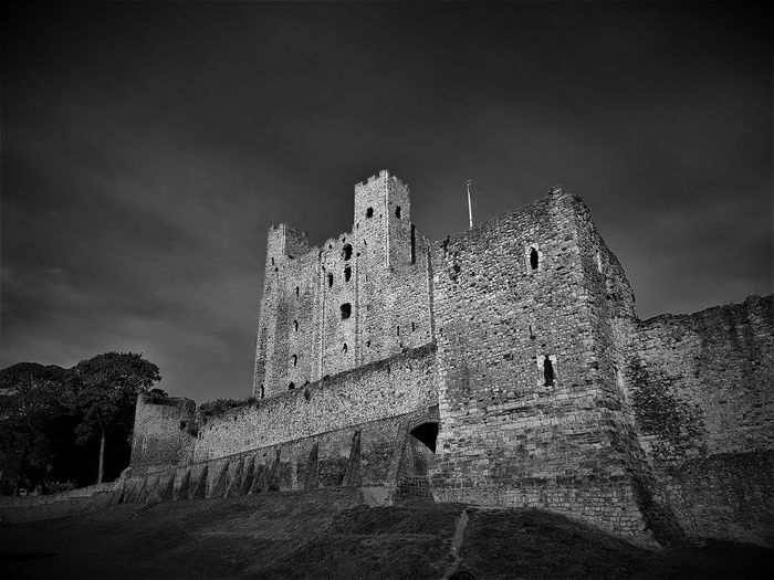 A shot of Rochester Castle in Black and White Colour. Ancient Ancient Civilization Architecture Bad Condition Building Exterior Built Structure Castle Damaged Day Fort Historic History Lookout Tower Low Angle View Nature No People Old Old Ruin Outdoors Rochester Castle Rochester, Kent Sky The Past Travel Travel Destinations