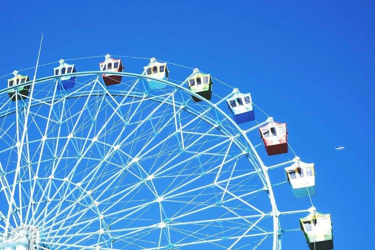 EyeEm Selects Amusement Park Ferris Wheel Clear Sky Big Wheel Low Angle View Sky Wolmi Isaland Incheon Korea Korea Photos Dramatic Sky