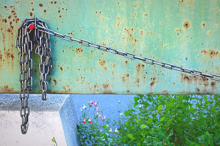 Close-up of rusty metal chain against wall