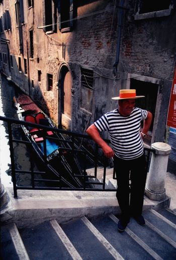 Venezia1979 Venezia Italia Striped One Person Full Length Architecture Standing Real People Built Structure One Man Only Building Exterior Only Men Indoors  Adults Only Day Adult Young Adult People Gondola - Traditional Boat