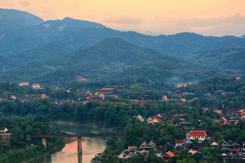 Laungprabang Loas Travel Loas Bridge Tree Mountain Water Sunset Lake Forest Multi Colored Valley