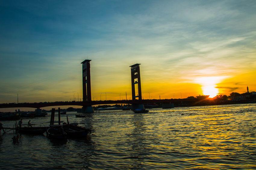 AmperaBridge South Sumatra Palembang-Indonesia Nikon D3200 Sundown Bridge Musi River
