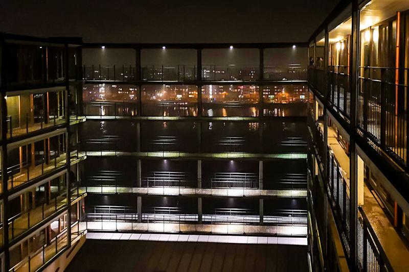 Full frame shot of illuminated glass building