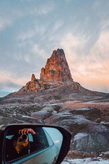 Sunset drive thru monument valley in winter.