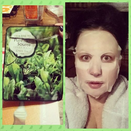 J'ai fait peur à mon mari haha Puresource Facialmask Koreanmask Koreancosmetics sheetmask greentea missha
