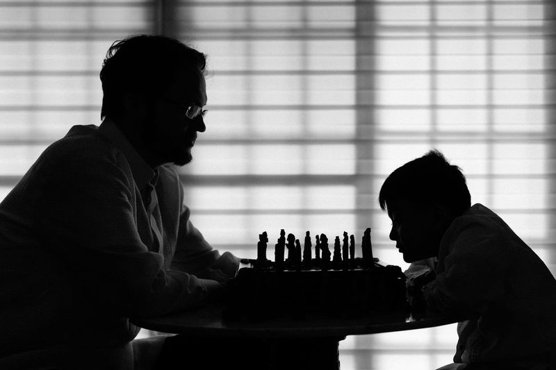 Chess Father & Son Father Silhouette Black & White Competition Generations Contest Study Tutor Learning Teaching Determination