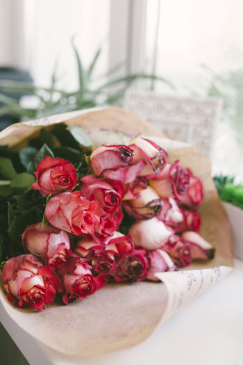 Close-up of roses on table