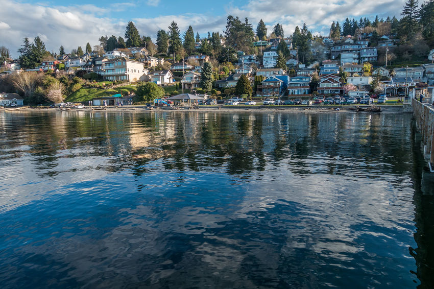 Waterfront homes in Dash Point, Washington. Pacific Northwest  Architecture Building Exterior Built Structure Cloud - Sky Dash Point Day House Lake Mountain Nature No People Outdoors Outdoors❤ Reflection Residential Building Shoreline Sky Town Tree Water Waterfront