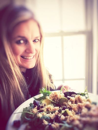 Trying to eat better in the New Year Healthy Lifestyle Healthy Food Woman Healthy Eating Healthy Lifestyle Eating Healthy Salad Happiness Holding Plate Of Food Salad Smiling Looking At Camera One Person Indoors  Happiness Portrait Long Hair Beauty Beautiful Woman Headshot Cheerful Real People Home Interior Food Human Face Women Food Stories Love Yourself