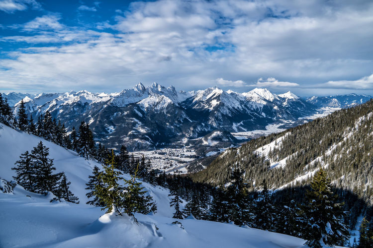 Winter in the alps Tyrol Alps Austria Snow Cold Temperature Winter Cloud - Sky Mountain Beauty In Nature Sky Scenics - Nature Tranquil Scene Tranquility Environment Landscape Nature Snowcapped Mountain Non-urban Scene No People White Color Mountain Range Plant Mountain Peak