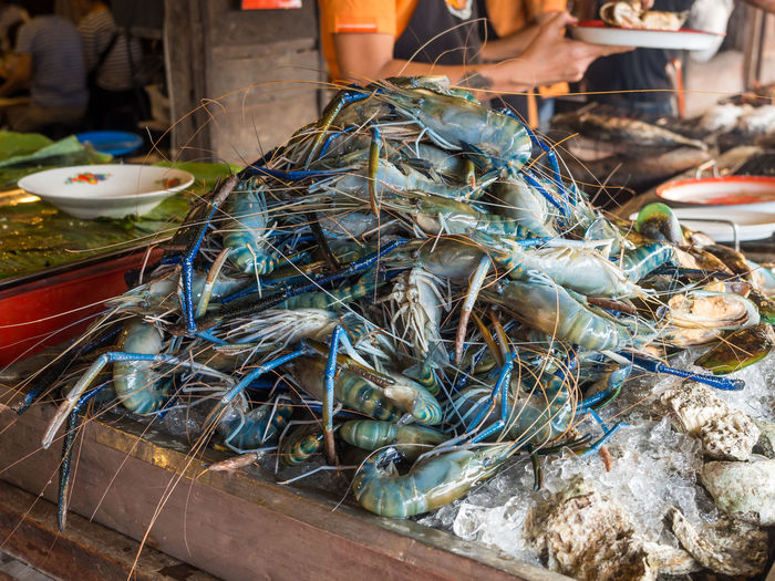 View Of Blue Prawns For Sale At Amphawa Floating Market, Thailand