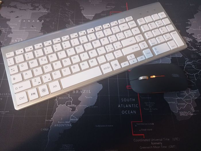 High angle view of laptop keyboard
