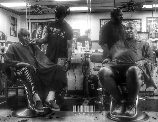Lil B&W Black And White Candid Barber Shop Haircut