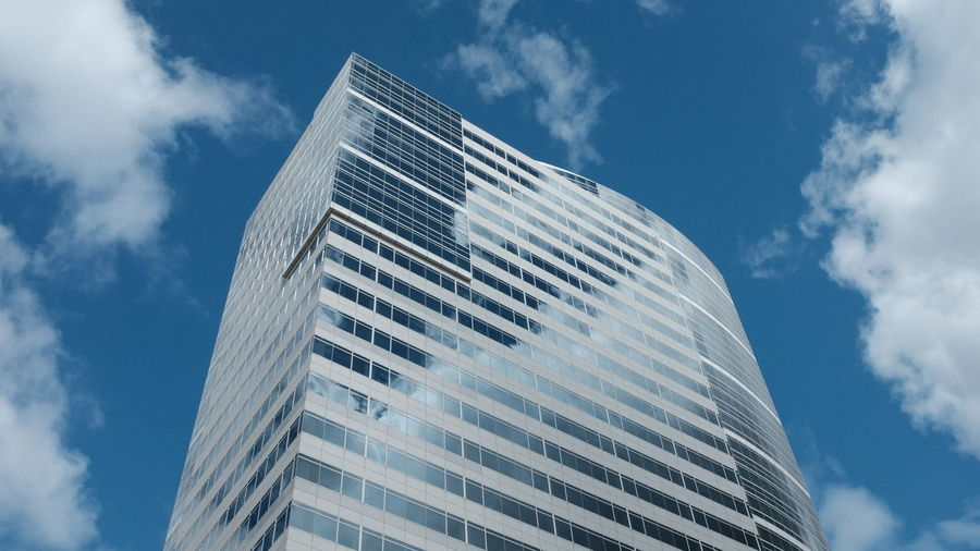 Architecture Blue Building Building Exterior Built Structure City Cloud - Sky Day Glass - Material Low Angle View Modern Nature No People Office Office Building Exterior Outdoors Sky Skyscraper Tall - High Tower