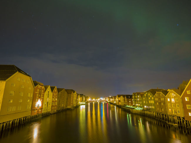 Architecture Beauty In Nature City Gamlebybro Gamlebyen Illuminated Nature Night No People Northern Lights Norway Old Buildings Old Town Sky Star - Space Trondheim Water