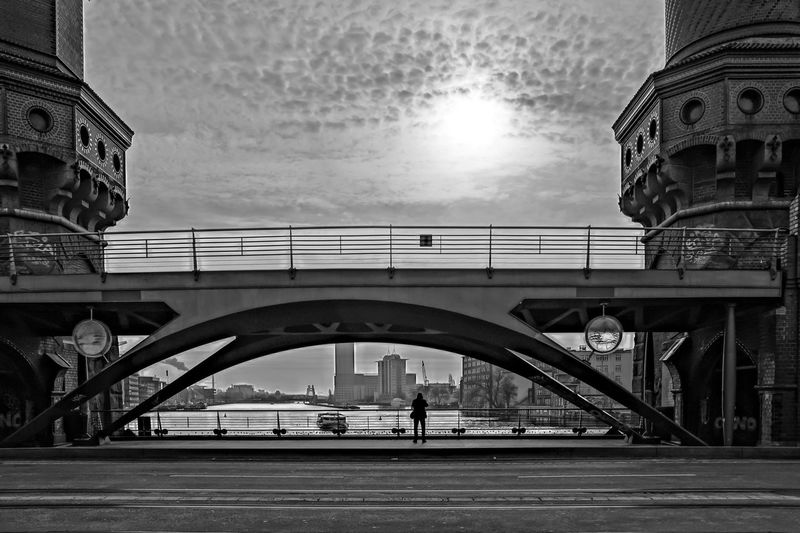 Rear View Of Person Standing At Oberbaum Bridge