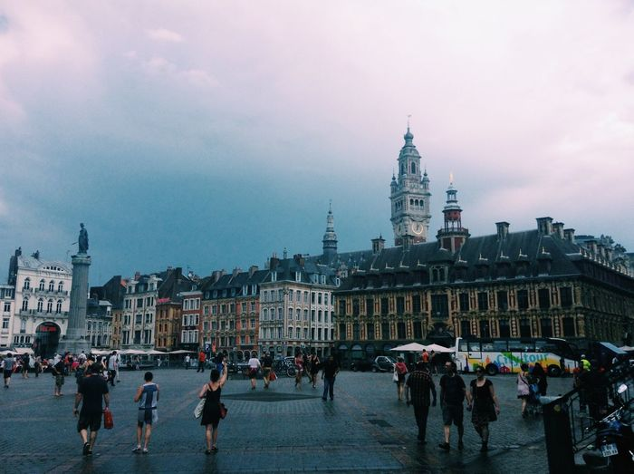 Architecture Building Exterior Built Structure City Cloud - Sky Day History Large Group Of People Leisure Activity Lifestyles Lille Outdoors People Real People Sky Tourism Travel Travel Destinations Vacations Walking Women