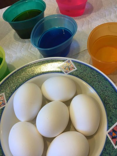 Dyeing Easter Eggs Bowl Close-up Colors Day Dye Dyeing Dying Easter Eggs Easter Easter Eggs Egg Food Freshness HardBoiledEggs High Angle View Indoors  No People White