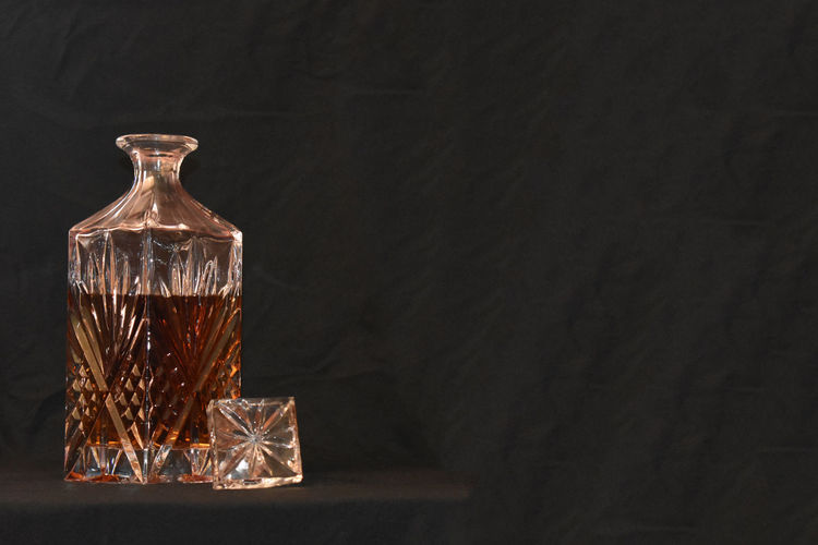 Crystal Liquor Decanter Elegant Elégance Liquor Alcohol Black Background Brandy Celebration Close-up Crystal Decanter Glass Glassware Indoors  No People Whiskey
