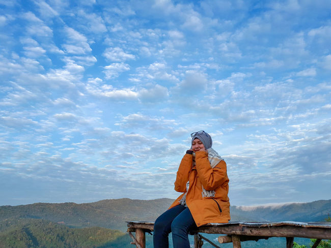 cold morning 😊 Morning Morning Sky Open Spaces Nature Open Space Girl Single Single Woman Sky Sky And Clouds Skyline Stroll Strolling Strong Woman Stroll Through Nature Hijab Hijabsyari Headwear Smiling Happiness Portrait Warm Clothing Youth Culture Cheerful Women Sitting Activity Mountain Bike