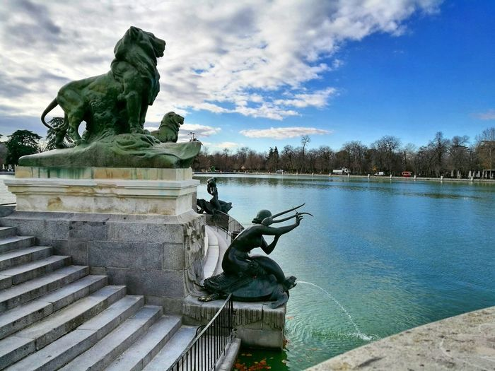 Statue City Water Sculpture Architecture Sky Day Clouds Sun Madrid, Spain Madrid Parcodelbuenretiro Lake