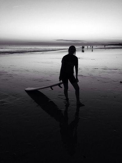 Nighty surfer Bw_collection Dark Photography Beach Photography Blackandwhite