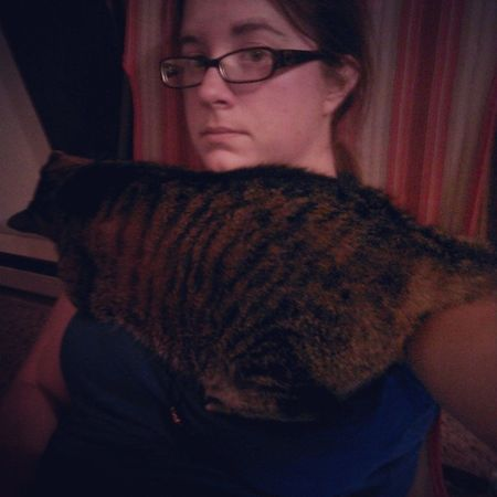 We've been like this for 10 minutes. She acts like she doesn't get any love Meow Catladyproblems Snuggleslut Sounloved