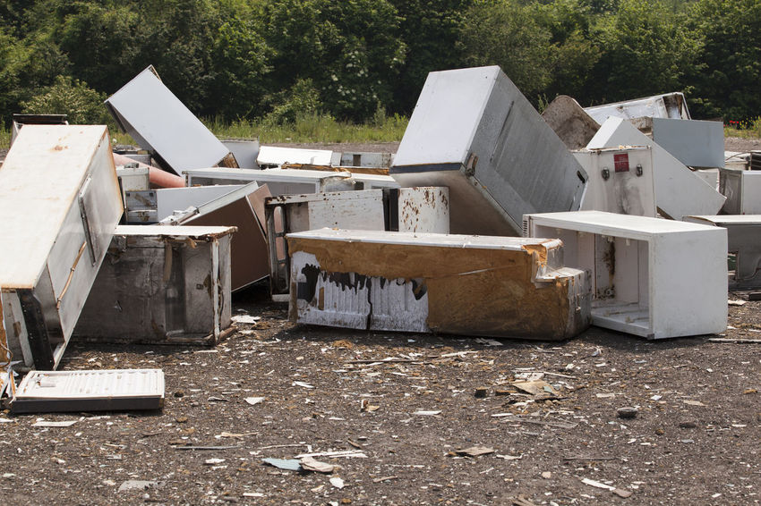 Old home appliances dumped at the landfill Contamination Disposal Fridge Garbage Dump Nature Consumerism Consumption  Dump Environment Freezer Fridges Garbage Home Appliances Household Appliances Junkyard Landfill No People Old Outdoors Pollution Recycle Recycling Recycling Center Waste Waste Management