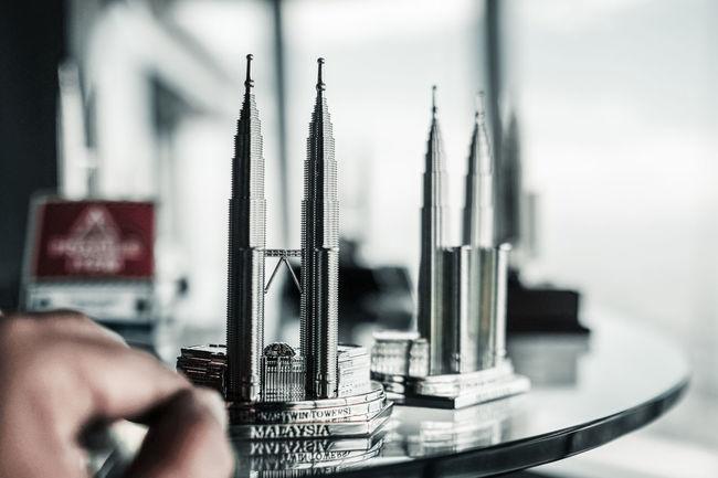 Architecture Tourist Attraction  Display Gift Iconic Memorabilia Petronas Twin Towers Selective Focus Souvenier Tourist Destination