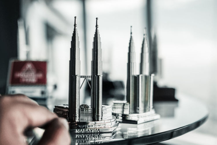 Close-up of petronas towers souvenir