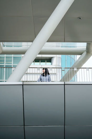 People standing in modern building