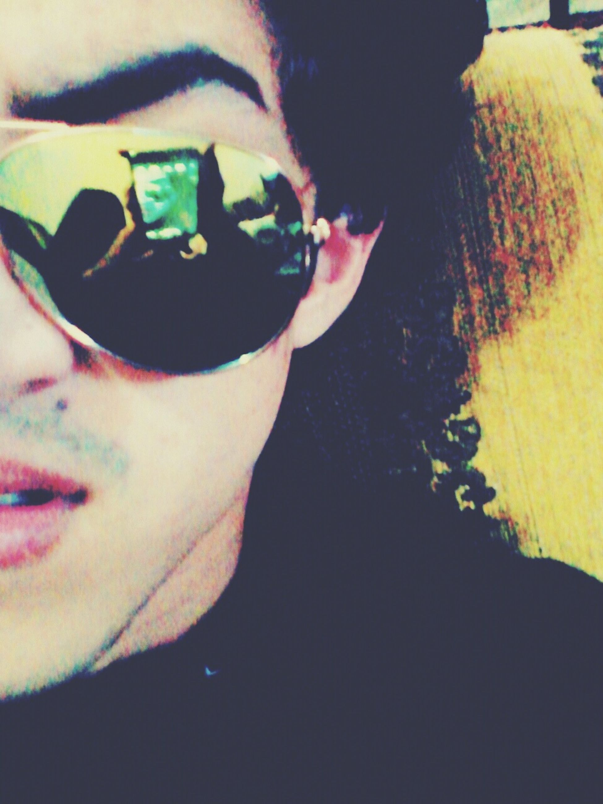 lifestyles, headshot, leisure activity, young adult, person, close-up, indoors, holding, young men, looking at camera, front view, human face, sunglasses, portrait, reflection, men