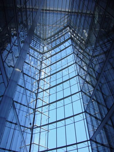 Bonn Post Tower Architectural Feature Architecture Blue Building Built Structure Ceiling Day Directly Below Geometric Shape Girder Glass Glass - Material Indoors  Low Angle View Metal Modern No People Pattern Reflection Shape Skylight Steel Transparent