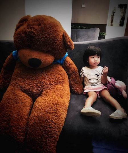 Portrait Childhood Child Full Length Real People Baby Toy The Portraitist - 2019 EyeEm Awards Young One Person Sitting Indoors  Babyhood Cute Home Interior Innocence Toddler  Stuffed Toy Front View Teddy Bear