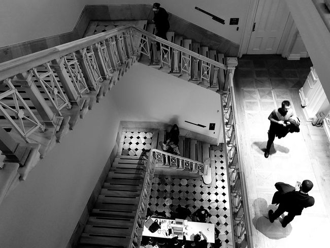 Staircase Walking High Angle View Only Men Steps And Staircases
