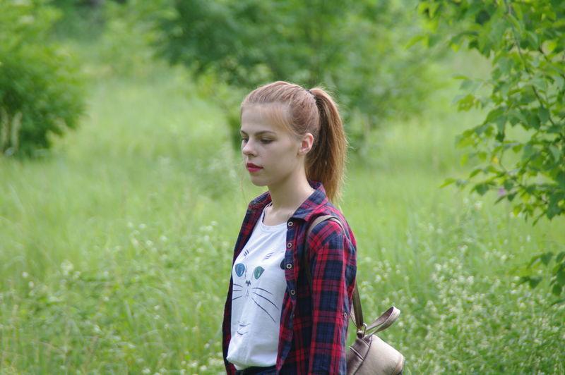Young Women Denim Jacket Beauty University Student Student Standing Portrait High School Student Teenager Meadow