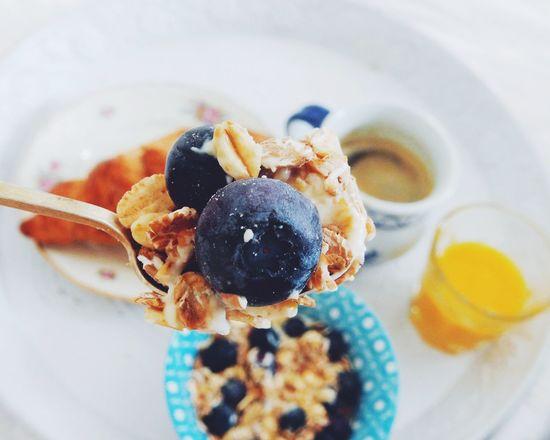breakfast in bed....My Favorite Breakfast Moment Muesli With Yoghurt And Fresh Fruits Muesli Yoghurt Blueberries Croissant Coffee Juice Breakfast Breakfast In Bed EyeEm X My Muesli - Breakfast Moment