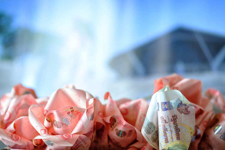 Close-up of paper currency crafts