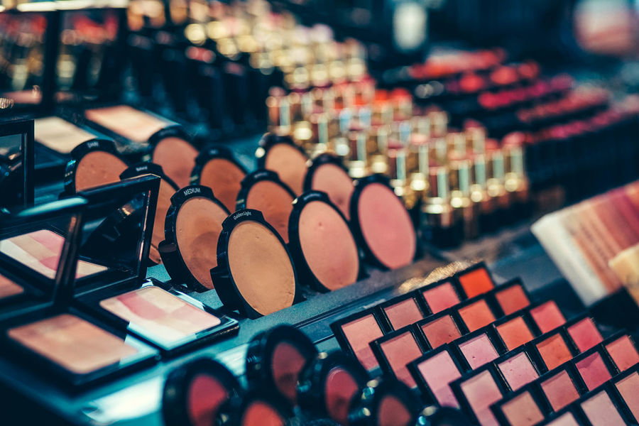 Cosmetics products for makeup are on display. Care Eyeshadow Fashion Lipstick Makeup Paint Beauty Brush Cascara Closeup Color Cosmetic Cosmetology Cream Eye Face Face-powder Facial Glamour Mascara Nail Palette Perfume Pointing Polish