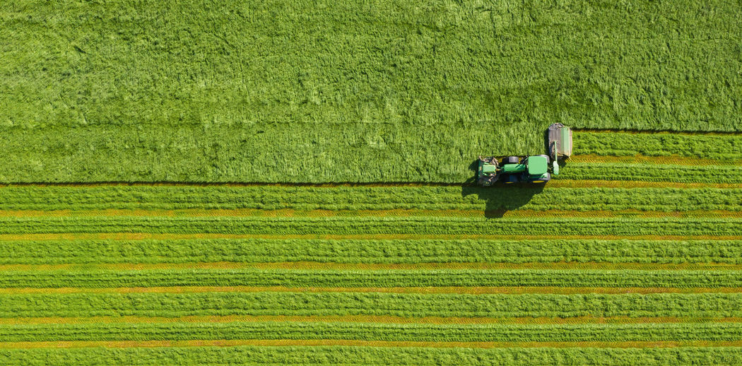 Directly above shot of agricultural machinery on farm