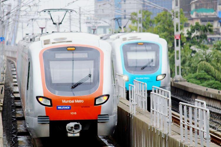 Metro trains on railroad track