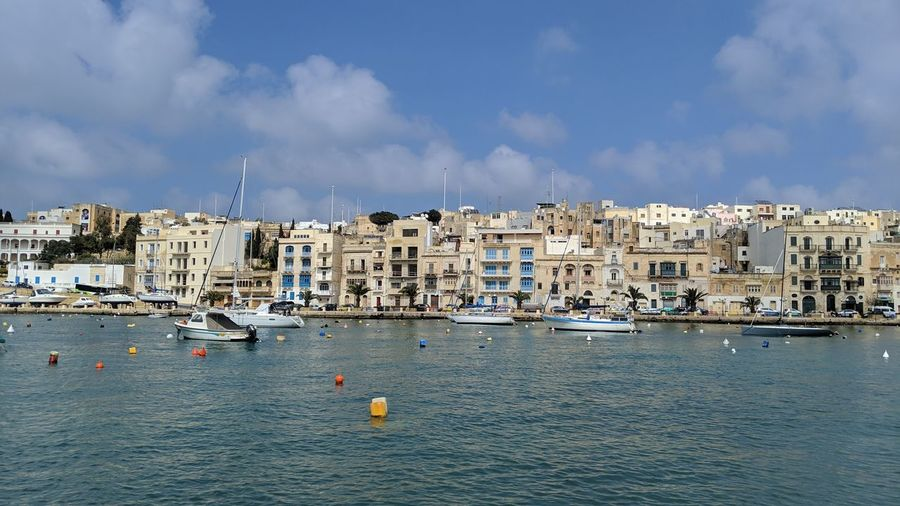 Birgu. Malta Birgu Mediterranean  Mediterranean Sea Europe Blue Sea Marina Boats Architecture Cityscape Urban Landscape Urban Beauty Almost Summer Spring Sea Life Sailing Ship Water Nautical Vessel Sea Harbor Beach Yacht Sailboat Moored Tall Ship