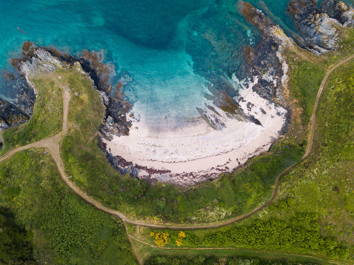 Atlantic Ocean Bretagne France Aerial View Beauty In Nature Day Environment Geology Green Color High Angle View Land Landscape Mountain Nature No People Non-urban Scene Ocean Outdoors Physical Geography Plant Scenics - Nature Tranquil Scene Tranquility Volcanic Crater Water