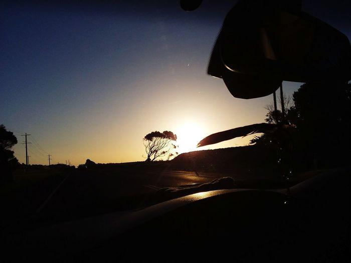 Sunset on Phillip Island road Silhouette Sunset