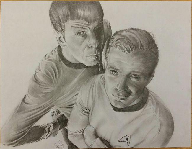 ...to boldly go where no man has gone before.... Startrek Dr. Spock Vulcan End Of An Era Leonardnimoy Captainkirk William Shatner Pencil Drawing ArtWork Sketch